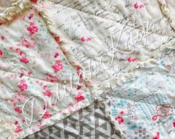 Rag Quilt - Le Vintage Chic - King Queen Full Twin xl Throw - Shabby Deer Cream Gray Pink Modern Handmade Bedding