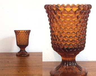 Vintage 60s Hobnail Amber Glass Footed Candleholder / Gold Brown Mid Century Votive Pedestal Candle Holder / Shabby Chic Home Decor