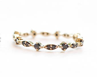 14K Diamonds Ring - Solid Gold Black Diamonds Ring - Black Diamonds Eternity Band Ring - Stackable Diamond Ring - Unique Gold Wedding Band