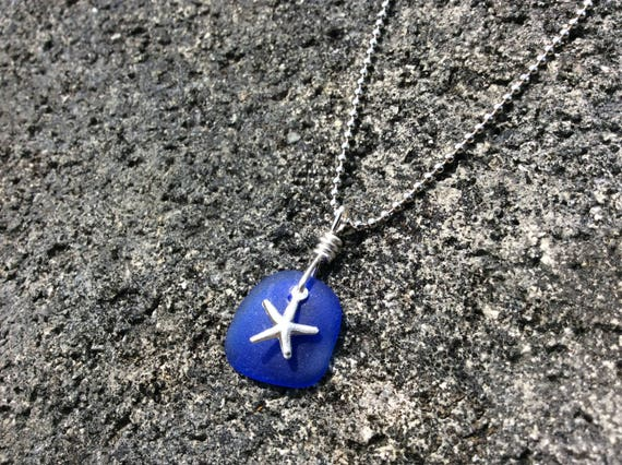 Cobalt Blue Seaglass, Silver Starfish, Silver Plated Ball Necklace