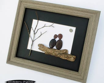 "Pebble Art: Couple on Driftwood - 10.5"" x 12.5"" Rustic Frame -- modern art, minimalist art, original wall art, couple art, engagement gift"