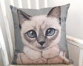 Cats In Clothes Pillow Cover - Violet - Painting by Heather Mattoon