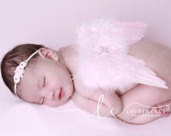 Light Pink Angel Baby Feather Wings and/or Matching Headband, for a teenie infant, baby photo, bebe, handmade by Lil Miss Sweet Pea