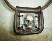 Pirate Skull and Bones necklace - Copper and Leather