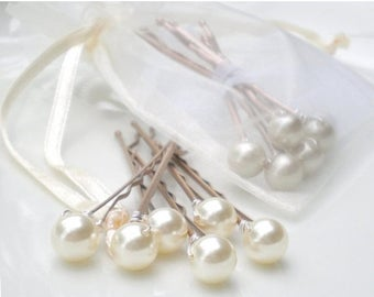 ON SALE SET of 3 Bridal Ivory Pearl Hair Pins. Bridal Shower Gift. Bridal Party. You Choose Pearl Color. Bride Maid Jewelry.  Flower Girls.
