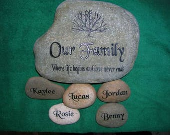 Engraved stone, etched stone, carved stone, namesake stone, family stone,engraved rocks, garden stones, etched rock, etched stone