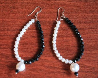 Pearl and Black Spinel Teardrops
