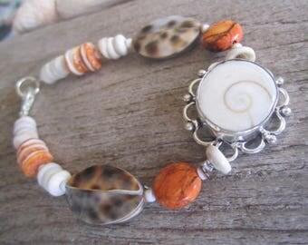 shell bracelet, tropical bracelet, beach bracelet, island jewelry, shiva eye style, made in Hawaii jewelry