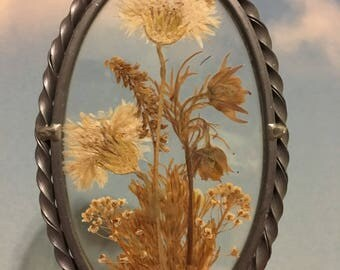 Vintage Dried Flower Glass Suncatcher