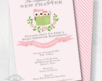 Owl Stock the Library Story Book Baby Shower Invitation, Pink and Green, Birthday Invitation, Baby Girl, Printable Digital FIle