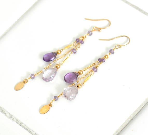 Amethyst Earrings, Pink Amethyst Gold earrings, Purple stone Earrings, Long earrings, February Birthstone earrings, Gift For Her,