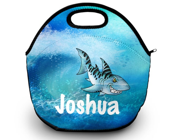 Shark Personalized Lunch Tote - Shark Lunch Bag, Neoprene Lunch Tote Bag - Kids Personalized Gift
