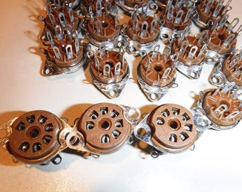 Vacuum Tube Sockets Cinch 7 pin Brown New Old Stock for Amplifier x 50