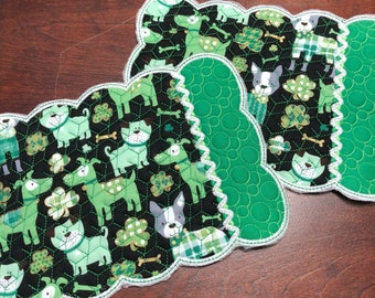 NEW Embroidered Mug RUg mouse pad St Patricks  Day dogs fabric