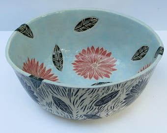 ceramics and pottery serving bowl; ceramic bowl; hand built pottery; flower bowl