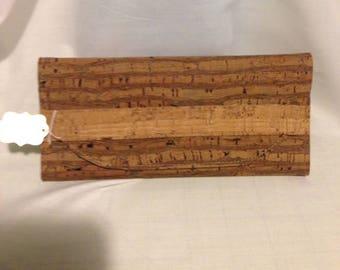Natural CORK Wallet - Vegan - Made to Order - Soft - Roots Pattern - Tri-fold