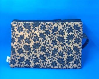 Natural CORK Wristlet - Black Floral Pattern - Vegan - Leather Alternative