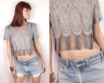 90s crochet crop top // sheer // metallic silver
