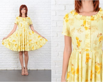 Vintage 60s 70s Yellow Mod Dress Floral Print Full A Line Small S 9635