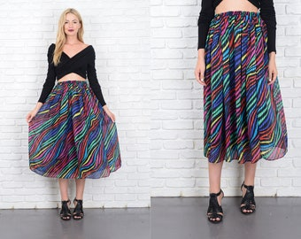 Vintage 80s Full Retro Dress Rainbow Striped High Waist Small Medium S M 10187