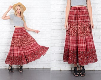 Vintage 80s Red Plaid + Floral Print Skirt High Waist Full Maxi Small Medium S M 10190