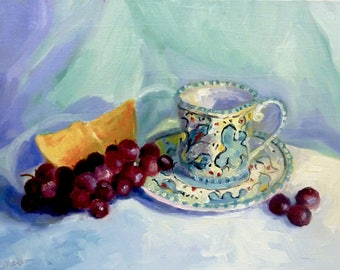 Original Still Life Oil Painting Fruitful Celebration