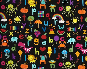 Alphabet Letters on Black from Andover Fabric's And Z Collection by Kim Schaefer