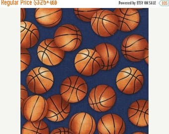 "SUMMER SALE Fat Quarter Only (18""x22"") of Large Basketballs on Royal Blue From Robert Kaufman"