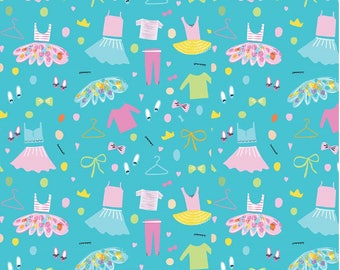 Ballerinas Wardrobes on Aqua from Riley Blake Fabric's Ballerina Bows Collection