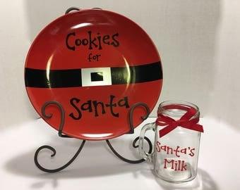 Santa's Cookies and Milk Set. Santa's Cookies Plate. Santa's Milk Mason Jar. Santa's Milk Glass. Christmas gift Set. Christmas traditions