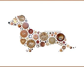 Dachshund Wall Art | Dachshund Loss Gifts | Button Art | Dachshund Art | Swarovski | Dachshund Gifts | Dachshund Memorial | Doxie Decoration