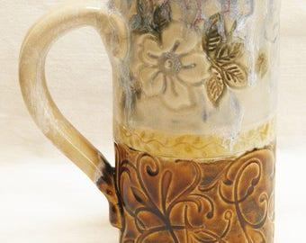 ceramic dogwood coffee mug 20oz  stoneware 20D063