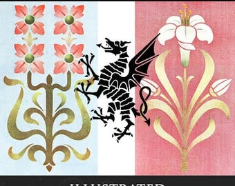 Artistic and Decorative Stencilling A Practical Manual on the Art of Stencilling on Paper Wood + Textile Fabrics 103 pages Instant Download