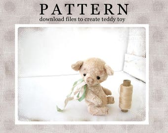 PATTERN Download to create Miniature Teddy like Pig Hrosya 4,5 inches