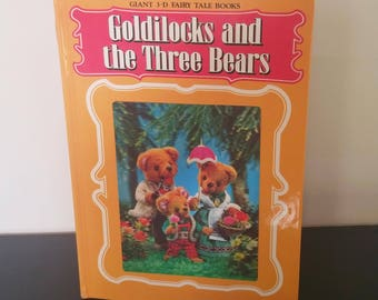 Vintage Children's 3D Book w Hologram - Goldilocks and the Three Bears