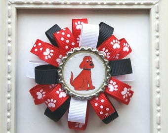 Clifford the Big Red Dog Paw Print Bottle Cap Loopy Hair Bow - Red, Black & White - Cute Gift - Baby, Toddler Boutique