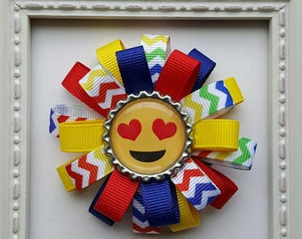 Emoji Inspired Love Bottle Cap Loopy Hair Bow - Primary Colors - Heart Love Eyes - Cute Gift or Emoji Birthday Party Favor
