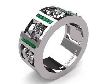 Mens Modern 14K White Gold Channel Emerald Skull Wedding Ring R413-14KWGEM