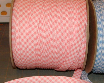 "10 yds PINK Gingham  1/2"" EXTRA Wide Double Fold Bias Tape 100% American Made"