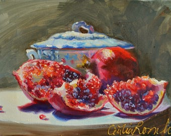 GRANAATSTUDIE, original oil  painting,French Setting ,Delft porcelain, red and blue, still life