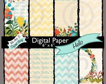 We Are 3 Digital Paper, Hello, Floral, Chevron