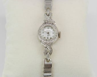 Antique Vintage 14K White Gold Diamond HAMILTON Ladies Watch Wristwatch