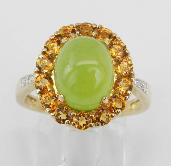 14K Yellow Gold Jade Diamond Citrine Engagement Cocktail Halo Ring Size 6.75
