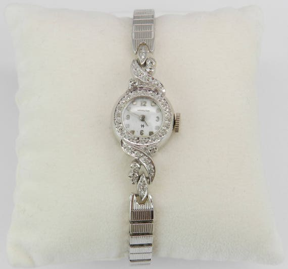 Antique Vintage 14K White Gold Diamond HAMILTON Ladies Watch Wristwatch