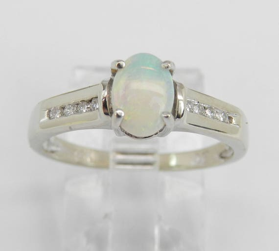 Diamond and Opal Engagement Ring Promise 14K White Gold Size 7 October Gem