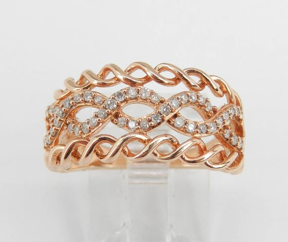 Rose Gold Diamond Right Hand Cocktail Swirl Ring Anniversary Band Size 7