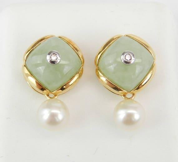 Jade Diamond and Pearl Dangle Earrings 14K Yellow Gold Unique Gift