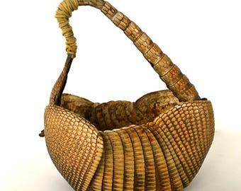 Vintage Taxidermy Armadillo Basket