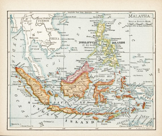 Small Map Of Malaysia Philippines Map Borneo Map Antique - Us map no color