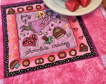Quilted Mug Rug, Chocolate Fairy Quilted Snack Mat, HandmadeTable Quilt,\